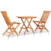 Zqyrlar - 3 Piece Folding Bistro Set Solid Teak Wood - Brown