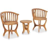 Zqyrlar - 3 Piece Garden Bistro Set Solid Teak Wood - Brown