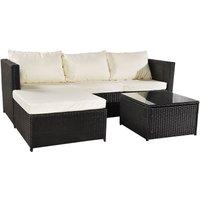 3-piece Garden Rattan Furniture Set Conjoined Sofa Pedal Coffee Table-Black - Black
