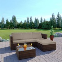 3-piece Garden Rattan Furniture Set Conjoined Sofa Pedal Coffee Table-Brown - Brown