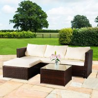 3-piece Garden Rattan Furniture Set Conjoined Sofa Pedal Coffee Table-Brown
