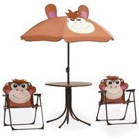 3 Piece Kids Garden Bistro Set with Parasol Brown - VIDAXL