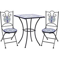 Youthup - 3 Piece Mosaic Bistro Set Ceramic Tile Blue and White