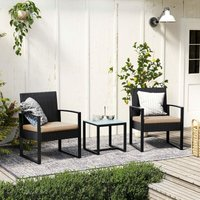 3-Piece Patio Set Outdoor Patio Furniture Sets, PE Rattan, Outdoor Seating for Bistro Front Porch Balcony, Easy to Assemble, 2 Chairs and 1 Table,