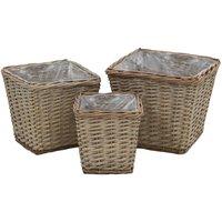 3 Piece Rattan Plant Pot Set by Brown - Dakota Fields