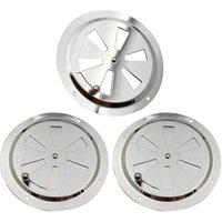 Soekavia - 3 Piece Round Vent Grille, Stainless Steel Vent Rosette 125mm Vent Grille, Adjustable Air Vent Gill Fan, for Smokers, Motorhomes