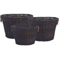 3 Piece Stackable Firewood Basket Set Dark Brown Willow - VIDAXL