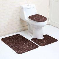3 Pieces Bathroom Carpet Solid Color Simple Thick Non-slip Pew Carpet + Cover Type Toilet Seat + Bath Mat Set brown