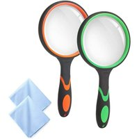 3 pieces magnifying glass 10X hand-held magnifying glass magnifying glass for seniors, children, Creatiees 75 MM 3 inch real glass magnifying glass