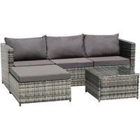 3-Seater 1-Piece Garden Furniture Sofa Pedal Set Coffee Table Dark Gray Cushion-Grey - Grey