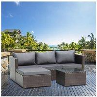 3-Seater 1-Piece Garden Furniture Sofa Pedal Set Coffee Table Dark Gray Cushion-Brown