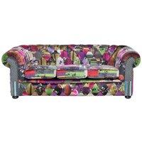 Beliani - Classic Sofa 3 Seater Button Tuftat Tyg Patchwork Purple Chesterfield