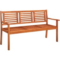 3-Seater Garden Bench 150 cm Solid Eucalyptus Wood - Brown