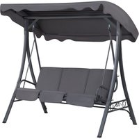 Modern Outdoor Swing 3 Seat Polyester Canopy Steel Frame Grey Garbo