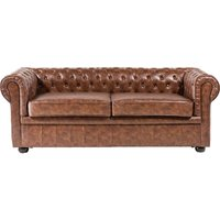 Modern PU Leather Sofa 3 Seater Button Tufted Scroll Arms Golden Brown Chesterfield
