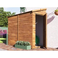 Dunster House Ltd. - 3 Sided Pent Shed Anya Left 8x4 - Pressure Treated Shiplap Cladding Garden Storage Lean to Bike Shed