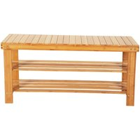 3-Tier Bamboo Shoe Bench Shoe Rack Storage Organizer