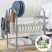 3 Tier Flat Plate Cup Drying Rack Organizer Drainer Storage Rack for Kitchen (Green, Style B)