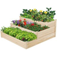 3 Tier Garden Wood Trapezoid Bed Flower Vegetable Plant Seeds Bed