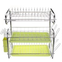3 Tier Large Capacity Dish Drying Rack Drainer Kitchen Storage Stainless Steel 43x25x44cm green