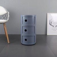3 Tier Living Room Bedroom Round Storage Cabinet Grey