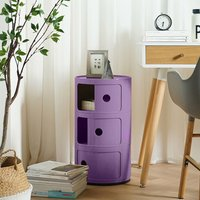 3 Tier Plastic Storage Unit Side Table Cabinet Bedside Table Chest Drawers Purple - LIVINGANDHOME