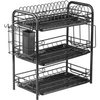 3-Tier Rustproof Dish Drying Rack Carbon Steel Dish Rack Multifunctional Organizer Dish Drainer with Drainboard Hooks Utensil Holder,model:Black with