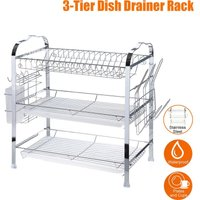 3 tier stainless steel dish drainer