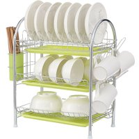 3 Tiers Dish Plate Cup Drying Rack Organizer Drainer Storage Holder white 53*25*49cm