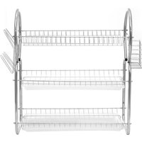 3 Tiers Kitchen Organizer Dish Plate Drying Rack Drainer Dishrack Kitchen Storage With Cups Holder
