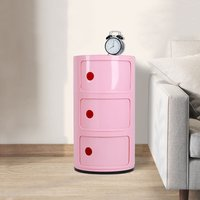 3 Tiers Telephone Table Side End Stand Hallway Round Coffee Lamp Magazine Storage Unit Pink