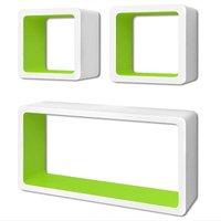 Wall Cube Shelves 6 pcs White and Green - Green - Vidaxl