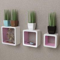3 White-pink MDF Floating Wall Display Shelf Cubes Book/DVD Storage VD09104