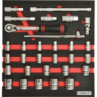 30 Piece Metric Ken-grip® 1/2IN Square Drive Socket Set in Tool Cont - Kennedy-pro