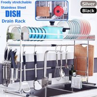 304 Stainless Steel Kitchen Shelf Flat Drying Cup Sink Drainer Countertop Utensil Storage Rack (Black)