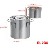 304 Stainless Steel with Thermometer Wine Making Brewing Machine Boiler Equipment Home Kit Household Purification Steamed Kitchen(10L)