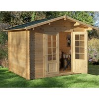 Worcester Log Cabins(f) - 3.0m x 2.5m Log Cabin With Double Doors - 28mm Wall Thickness **Includes Free Shingles**