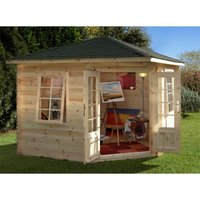 Worcester Log Cabins(f) - 3.0m x 3.0m Corner Log Cabin With Double Doors - 28mm Wall Thickness **Includes Free Shingles**