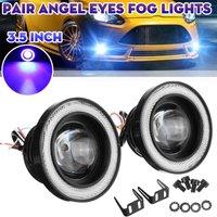30W Car Fog Lights LED Bulbs Angel Eyes Halo Lamp Projector(blue,3.5 inch)