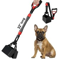 32-inch long handle foldable pet waste shovel flat bottom, portable waste collection rake, with durable spring, suitable for lawn, grass and gravel