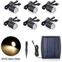 3.2V 0.2W 6PCS Solar Deck Lights IP65 Waterproof Solar Garden Light, Warm white and 6pcs - ASUPERMALL