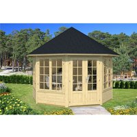 Clifton Log Cabins - 3.4m x 3.4m Budget Apex Log Cabin - Octagonal (223) - Double Glazing (40mm Wall Thickness)
