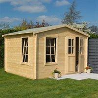 Cheshire Log Cabins(r) - 3.4m x 3m Retreat Apex Log Cabin - 19mm Wall Thickness