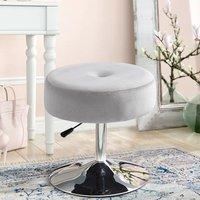 360° Swivel Velvet Bar Stool Gas Lift Dressing Table Vanity Stools Chair Seat Grey