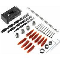Drillpro - 36pcs Pocket Angle Hole Screw Jig + Stud Drill Bit Set Carpenters Wood Joint Tool Kit