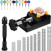 Bearsu - 37 Pieces Hand Drill Set, Include Pin Vise Hand Drill, Twist Drill Bits and Vise Bench for DIY Carving Craft (0.3-1.2mm PCB Drill)