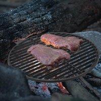 45.5cm Round Cast Iron BBQ Grill Rack Black