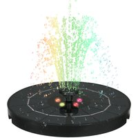 3.8W Large Diameter 190MM Water Pump Solar Fountain with Night Colorful Breathing Light 6 Nozzles Garden Scenery 2200mAh Battery,model: 2200mAh
