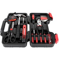 39pcs Basic Tool Set Wrench Screwdriver Box Accessory Set Home Shop Workplace Use-Red - TALKEACH