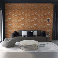 3D Wall Panels with Light Brown Brick Design 11 pcs EPS - Brown